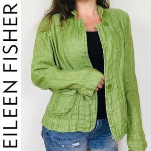 ❤️ Eileen Fisher Green Linen Button Down Blazer S